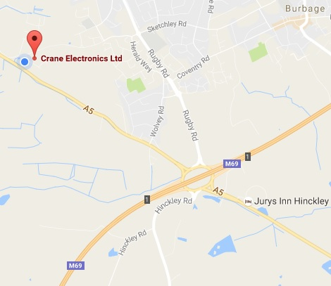 Location map for Crane Electronics in the UK