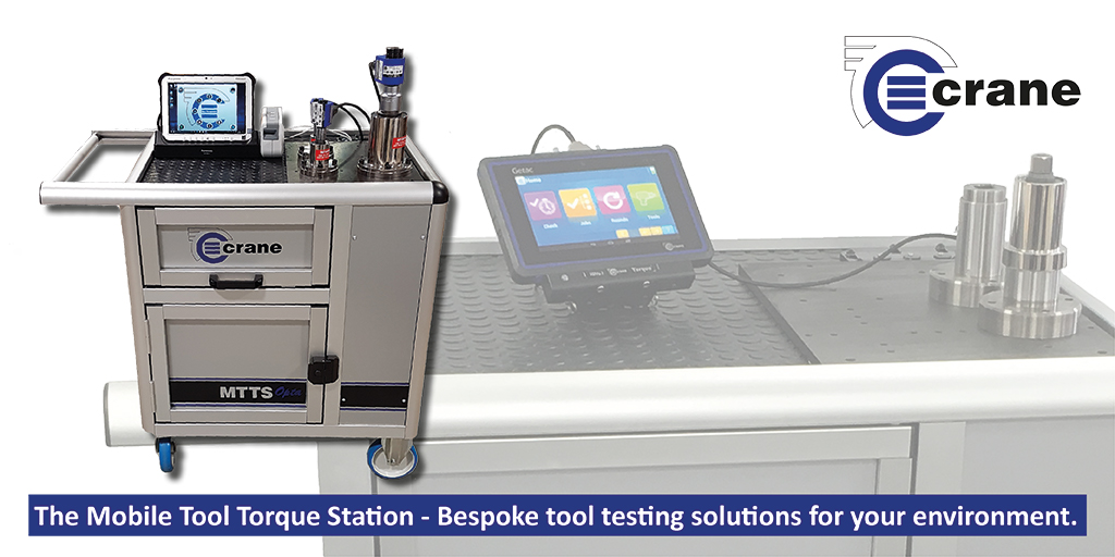 The mobile tool torque station trolley set up with static and rotary transducers, printer and OMS on tablet